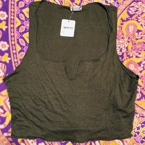 Free People Crop Top Green Size M NWT